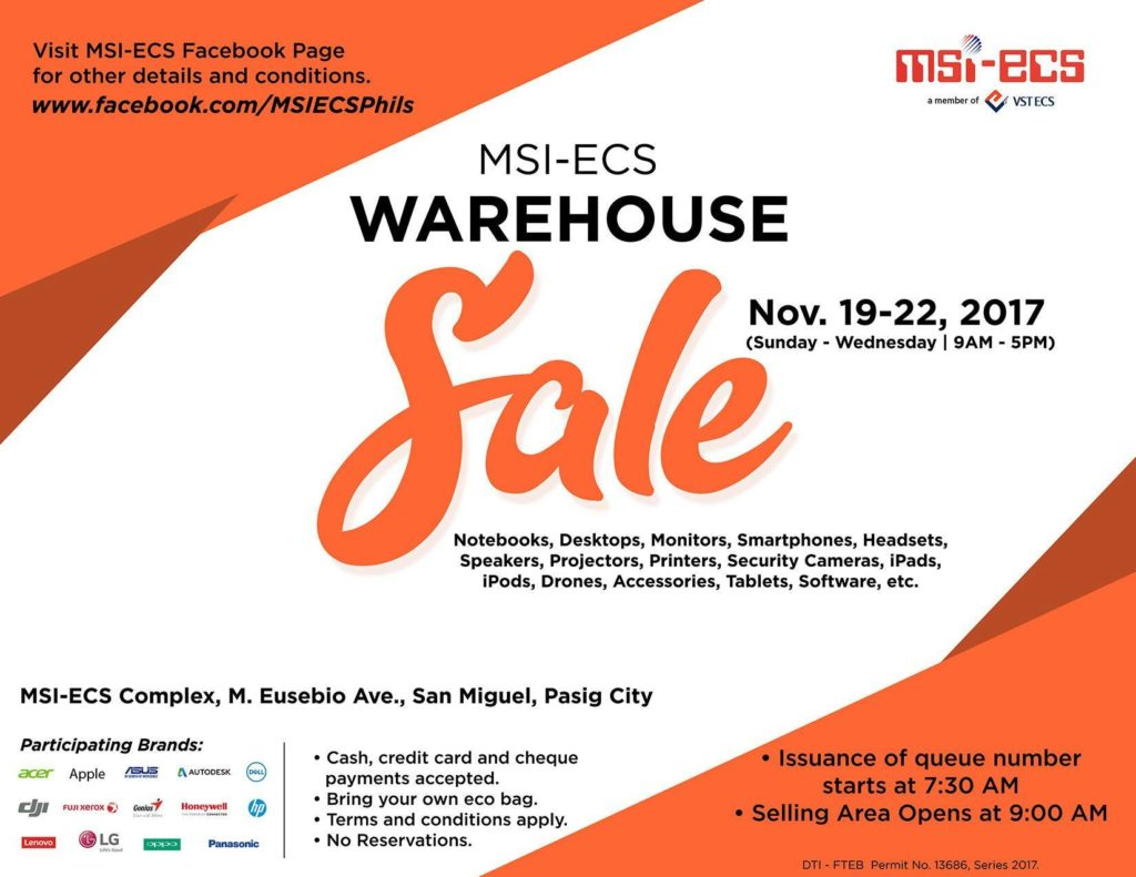 msi ecs warehouse sale 2017