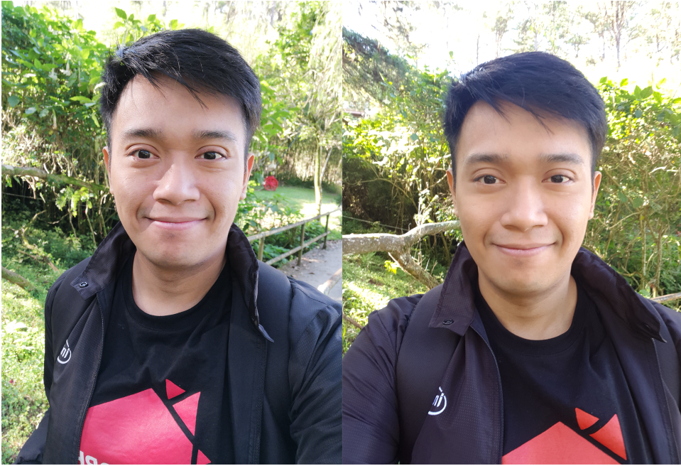 Selfie comparison with Mate 10 (left) and Note8 (right)