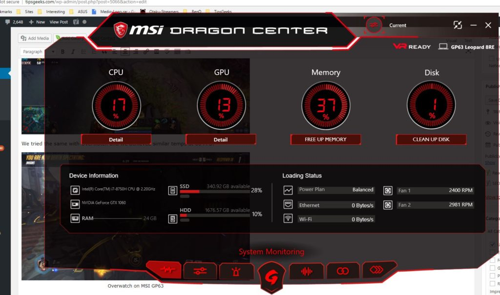 Dragon Center MSI GP63