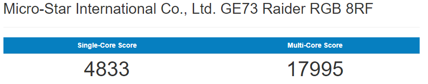 GeekBench Benchmark GE73 8RF